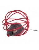 Jucarie pentru Pisica Glob Metal cu Soricel, 6 cm